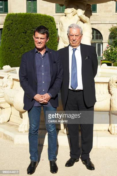 Former French Prime Minister Manuel Valls and Nobel prize winner for literature Mario Vargas Llosa attend El Escorial Summer Courses 2018 at Real...