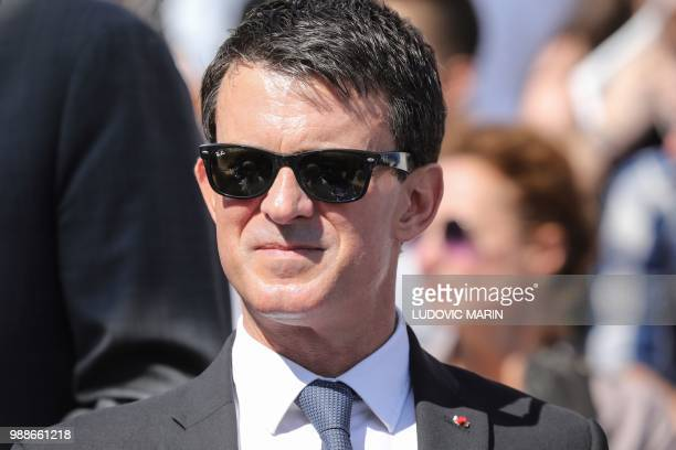 Former French Prime Minister Manuel Valls arrives to attend the burial ceremony for former French politician and Holocaust survivor Simone Veil at...