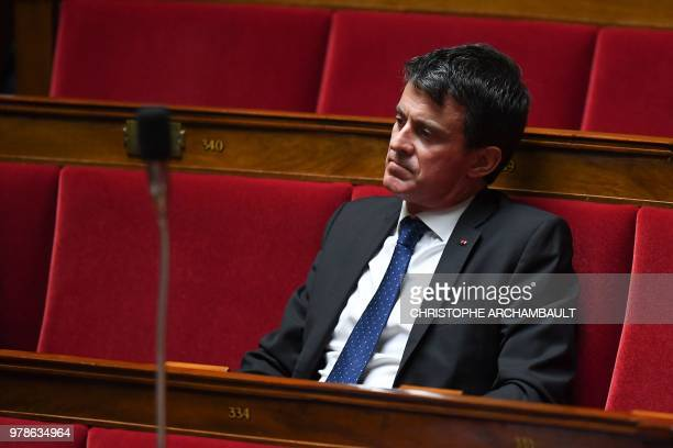 Former French prime minister Manuel Valls attends a session of questions to the government at the French National Assembly on June 19 2018 in Paris