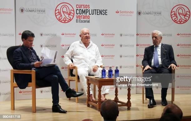 Former French Prime Minister Manuel Valls Juan Jesus Armas Marcelo and Nobel prize winner for literature Mario Vargas Llosa attend El Escorial Summer...