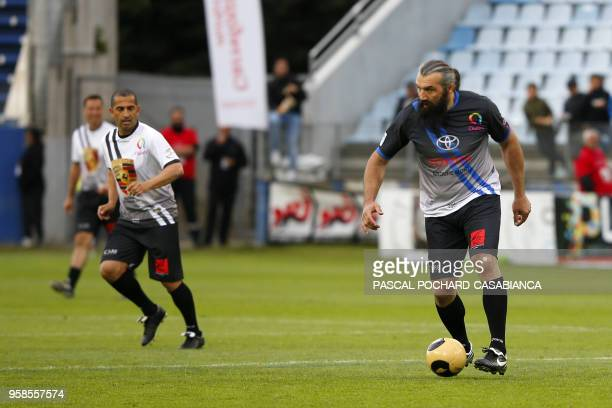 Former French rugby international Sebastien Chabal takes part in the charity match organized by French football player Pascal Olmeta for his...
