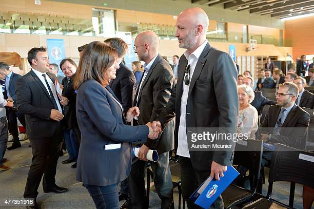 Former french soccer World Champion Franck Leboeuf attends a press conference on Euro 2016 on June 16 2015 in Paris France Paris City Mayor Anne...