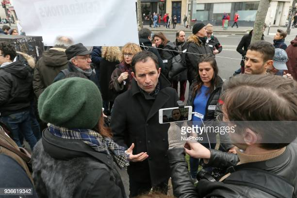 Former French Socialist minister Benoit Hamon leader of the Generations movement is seen during a demonstration in front of the Gare de lEst railway...