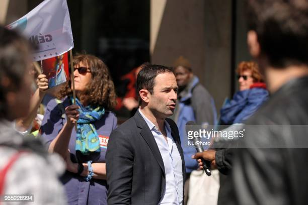 Former French Socialist minister Benoit Hamon leader of the Generations movement speaks with the press during a protest dubbed a quotParty for...