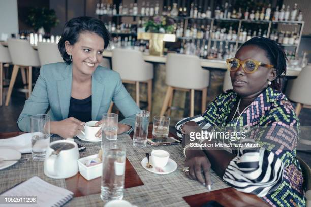 Former French Socialist party politician Najet VallaudBelkacem now working at Ipsos polling company is photographed with Marieme Jamme foundeer of...