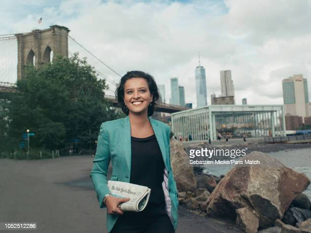Former French Socialist party politician Najet VallaudBelkacem now working at Ipsos polling company is photographed for Paris Match on September 24...