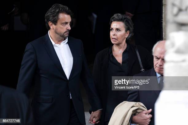 Former French Tennis Player Henri Leconte and his girlfriend Maria Dowlatshahi attend the Liliane Bettencourt's funeral organized at the Saint Pierre...