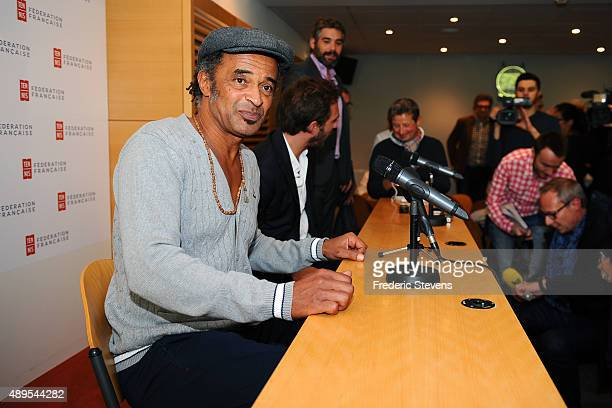 Former French tennis player Yannick Noah gives a press conference after his appointment as captain of the French men's Davis Cup team at Roland...