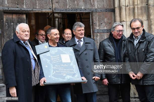 Former French Tour de France's director JeanMarie Leblanc French cyclist Bernard Thevenet and French cyclist Gilbert DuclosLassalle attend the...