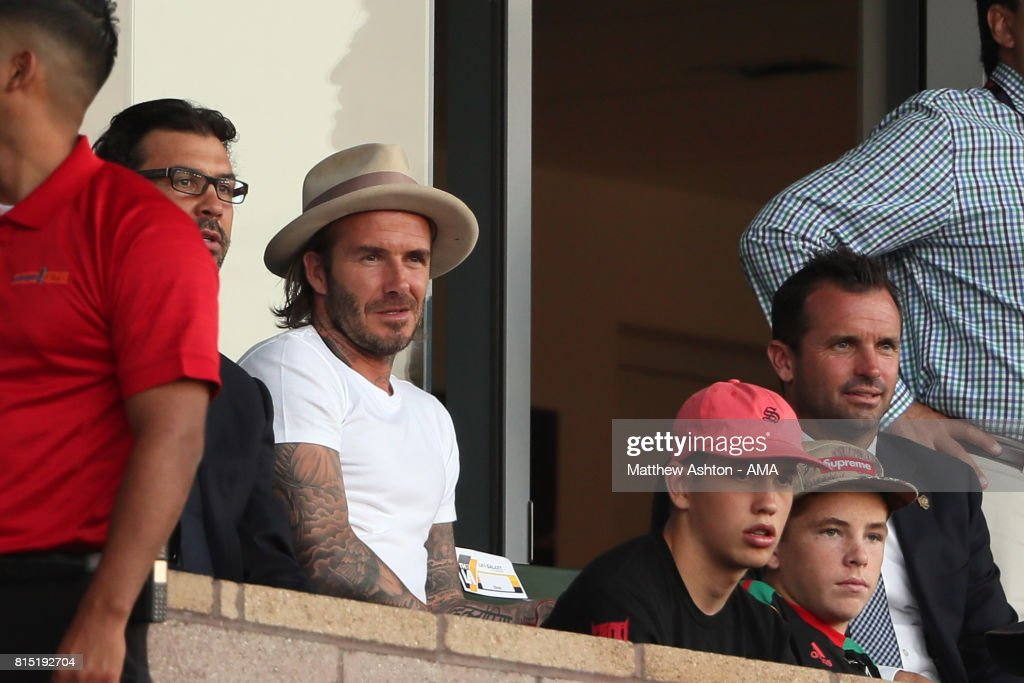 Former LA Galaxy and Manchester United player David Beckham watches the game during to the friendly fixture between LA Galaxy and Manchester United at StubHub Center on July 15, 2017 in Carson, California.
