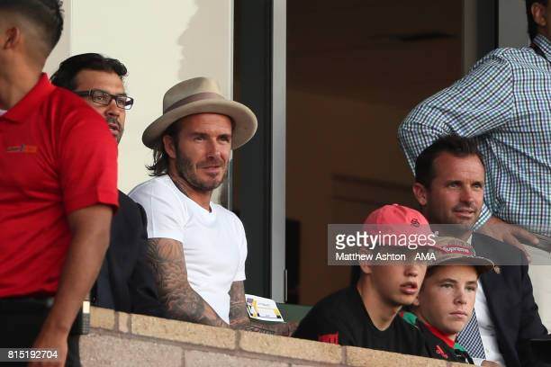 Former LA Galaxy and Manchester United player David Beckham watches the game during to the friendly fixture between LA Galaxy and Manchester United...