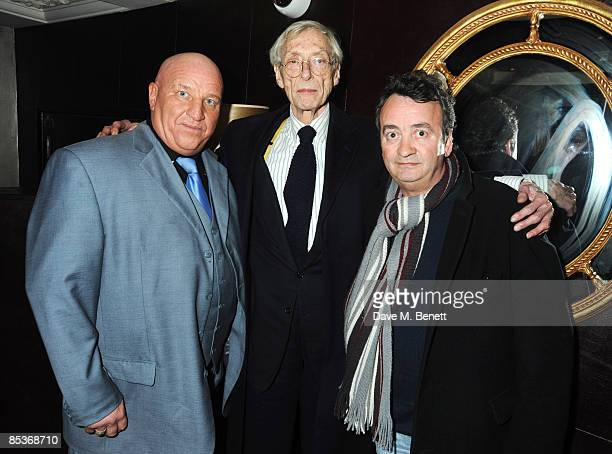 Former gangster Dave Courtney former career criminal Bruce Reynolds and Gerry Conlon who had been wrongly convicted of IRA bombings attend the...