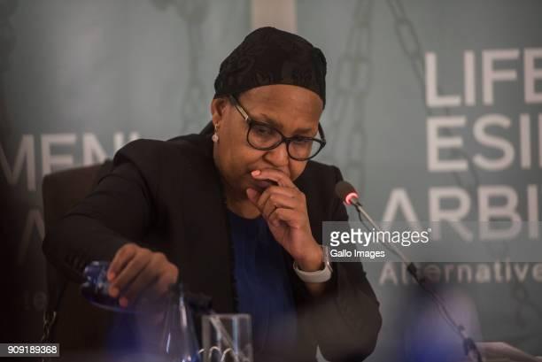 Former Gauteng Health MEC Qedani Mahlangu testifies during the Life Esidimeni arbitration hearings on January 22 2018 in Johannesburg South Africa 'I...