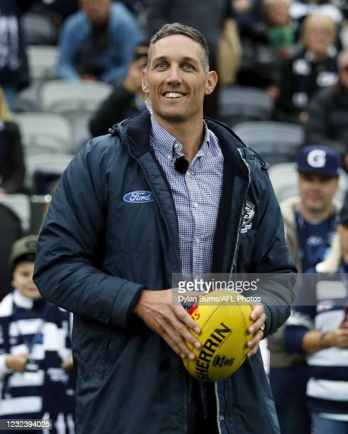 Former Geelong Cats premiership player Harry Taylor looks on during the 2021 AFL Round 05 match between the Geelong Cats and the North Melbourne...