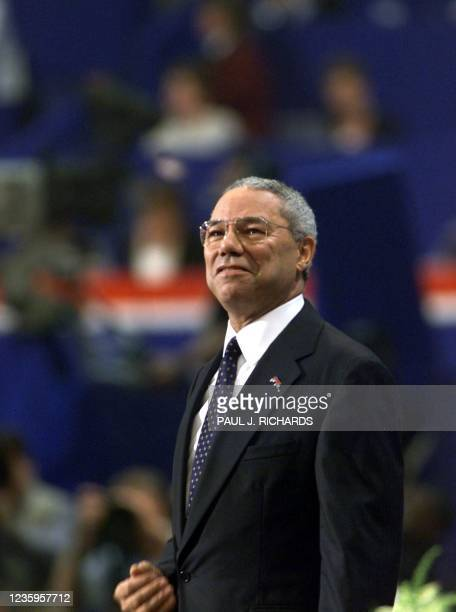 Former General Colin Powell smiles at the crowd during his speech to the evening session of the 2000 Republican National Convention in Philadelphia's...