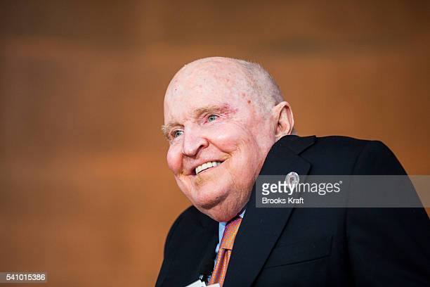 Former General Electric CEO Jack Welch speaks during a ceremony for students at the Jack Welch Management Institute June 11 2016 in Washington DC...