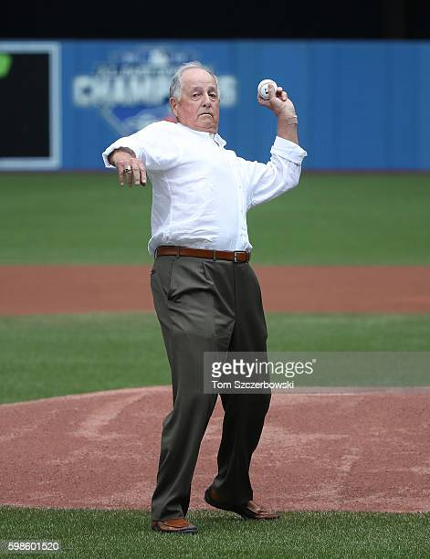 Former general manager of the Toronto Blue Jays and member of the National Baseball Hall of Fame Pat Gillick throws out the ceremonial first pitch...