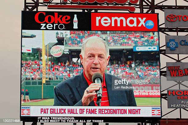 Former General Manager Pat Gillick of the Philadelphia Phillies is honored pregame for being inducted into the Baseball Hall of Fame prior to his...