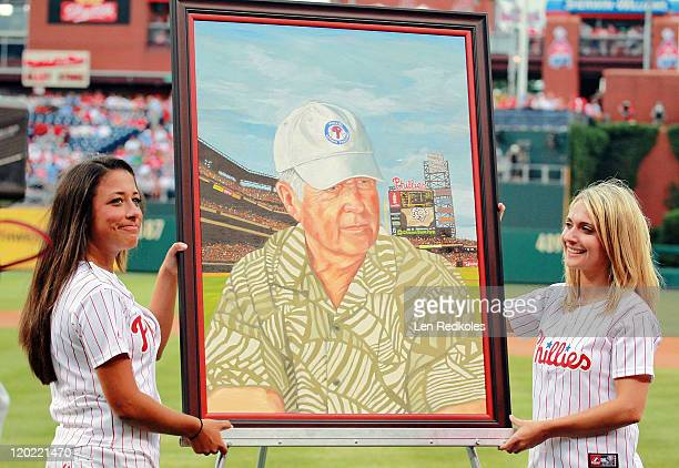 Former General Manager Pat Gillick of the Philadelphia Phillies is honored pregame for being inducted into the Baseball Hall of Fame with his Hall of...