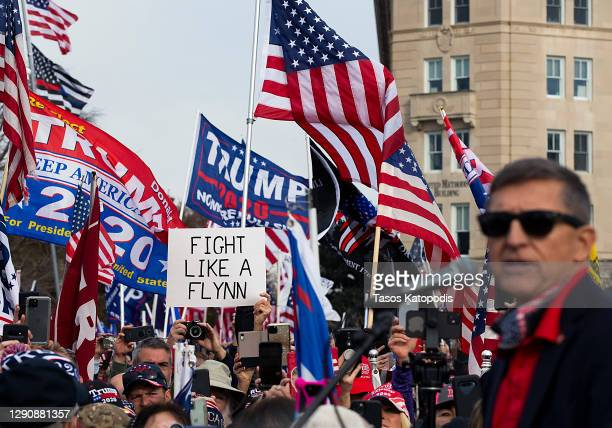 Former General Michael Flynn, President Donald Trump's recently pardoned national security adviser, speaks during a protest of the outcome of the...