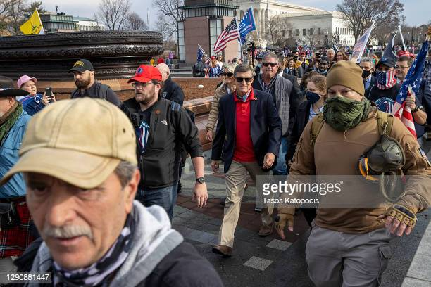 Former General Michael Flynn, President Donald Trump's recently pardoned national security adviser, departs a protest of the outcome of the 2020...