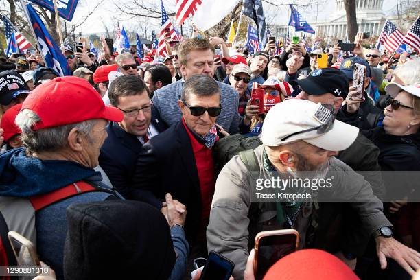 Former General Michael Flynn, President Donald Trump's recently pardoned national security adviser, arrives to speak during a protest of the outcome...