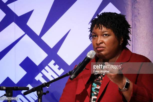 Former Georgia gubernatorial candidate Stacey Abrams speaks during a conversation about criminal justice reform at the New York Public Library April...