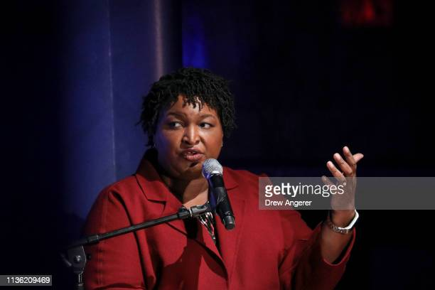 Former Georgia gubernatorial candidate Stacey Abrams speaks during a conversation about criminal justice reform at the New York Public Library, April...