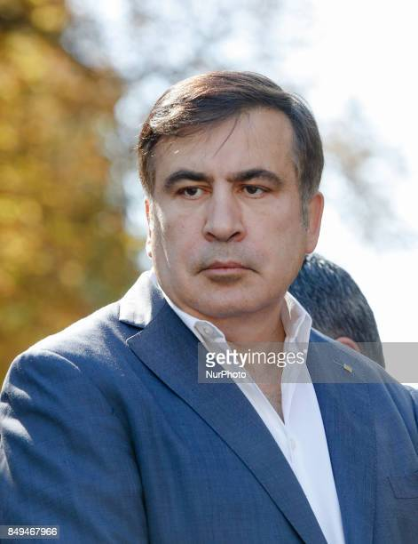 Former Georgian President and former Odessa Region Governor Mikheil Saakashvili and his lawyers in front of the Presidential Office building announce...