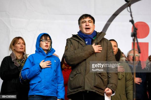 Former Georgian President and Ukrainian opposition figure Mikheil Saakashvili sings the national anthem during quotMarch for impeachmentquot with...