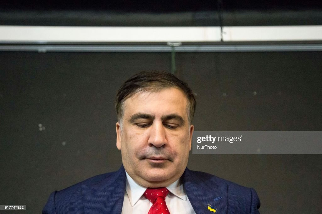 Former Georgian President Mikheil Saakashvili, after deportation from Ukraine to Poland, attends his hirst press conference in Warsaw on February 13, 2018.