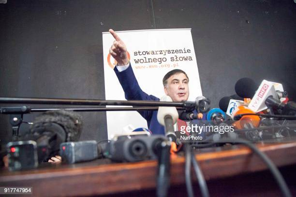 Former Georgian President Mikheil Saakashvili after deportation from Ukraine to Poland attends his hirst press conference in Warsaw on February 13...