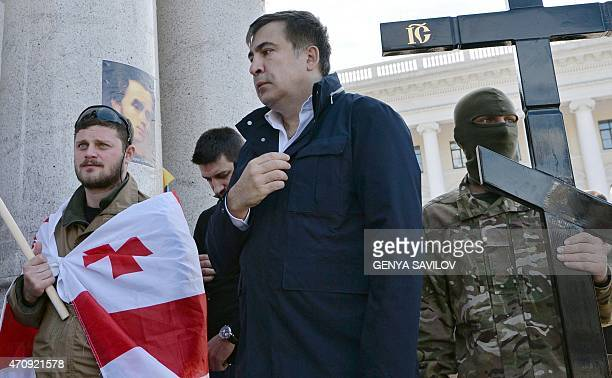 Former Georgian president Mikheil Saakashvili attends a funeral ceremony on Independence Square in Kiev on April 24 2015 of Georgy Djanelidze a...