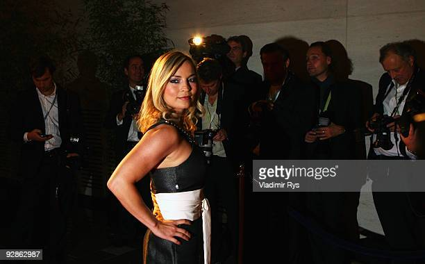 Former German boxing champion Regina Halmich arrives at the German Sustainability Award 2009 prize giving ceremony at Maritim Hotel on November 6...