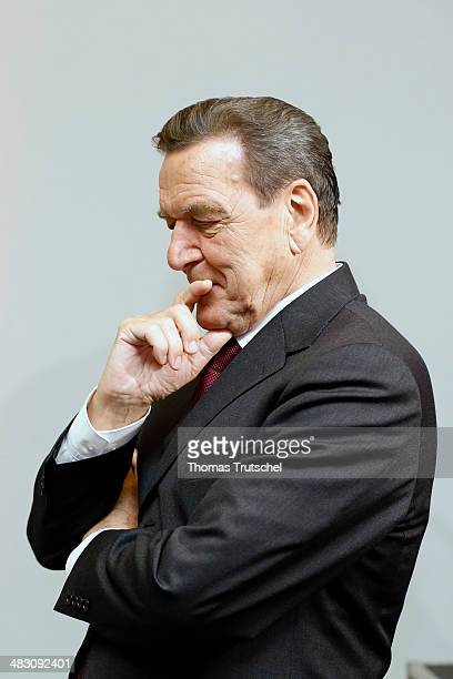 Former German Chancellor Gerhard Schroeder at a reception to mark Schroeder's 70th birthday at Hamburger Bahnhof museum on April 6 2014 in Berlin...