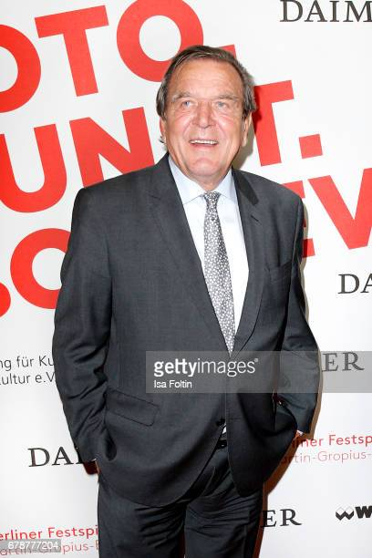 Former german chancellor Gerhard Schroeder attends the 'FotoKunstBoulevard' opening at MartinGropiusBau on May 4 2017 in Berlin Germany