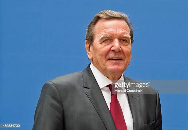 Former German Chancellor Gerhard Schroeder attends the presenation of 'Die Biographie' of 'The Biography' by biographer Gregor Schoellgen on...