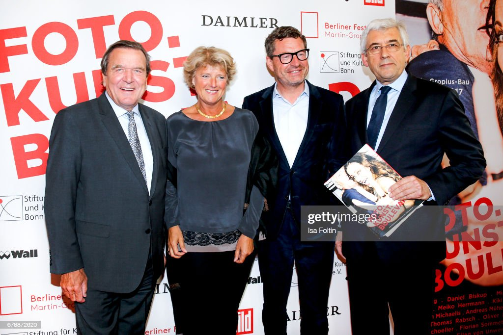 Former german chancellor Gerhard Schroeder, german politician Monika Gruetters, Kai Diekmann and Walter Smerling attend the 'Foto.Kunst.Boulevard' opening at Martin-Gropius-Bau on May 4, 2017 in Berlin, Germany.