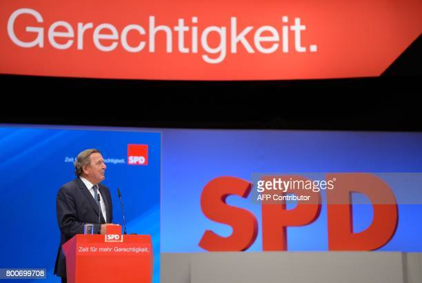 Former German Chancellor Gerhard Schroeder gives a speech during a party congress of Germany's social democraic SPD party in Dortmund western Germany...