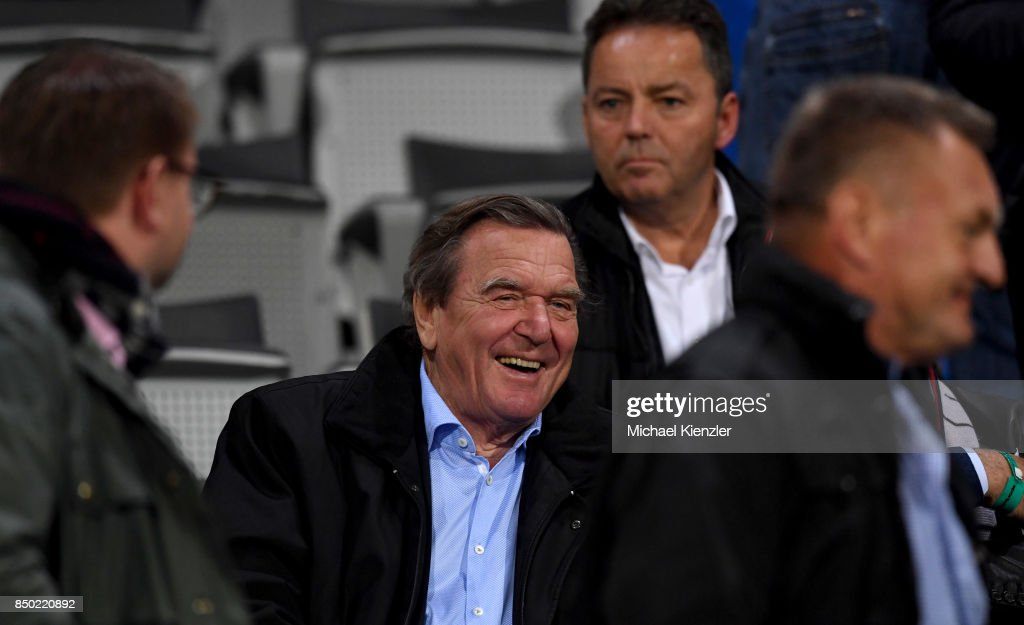 Former German Chancellor Gerhard Schroeder looks on prior to the Bundesliga match between Sport Club Freiburg and Hannover 96 at Schwarzwald-Stadion on September 20, 2017 in Freiburg, Germany.
