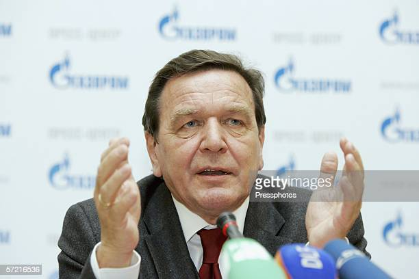 Former German Chancellor Gerhard Schroeder speaks to journalists during a news conference for the Russian natural gas monopoly Gazprom on March 30,...