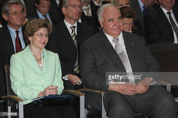 Former German Chancellor Helmut Kohl and his close friend Maike Richter attend a ceremony to unveil a bust of himself in the Axel Springer Passage...