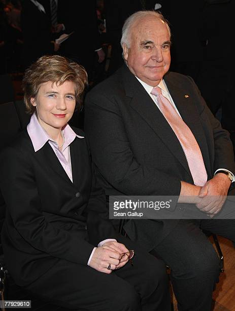 Former German Chancellor Helmut Kohl and his partner Maike Richter attend the Publishers Night 2007 at the Deutsche Telekom representation November...
