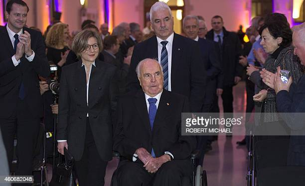 Former German Chancellor Helmut Kohl and his wife Maike KohlRichter arive to the 'Happily united from German Unity to European Unification' event on...
