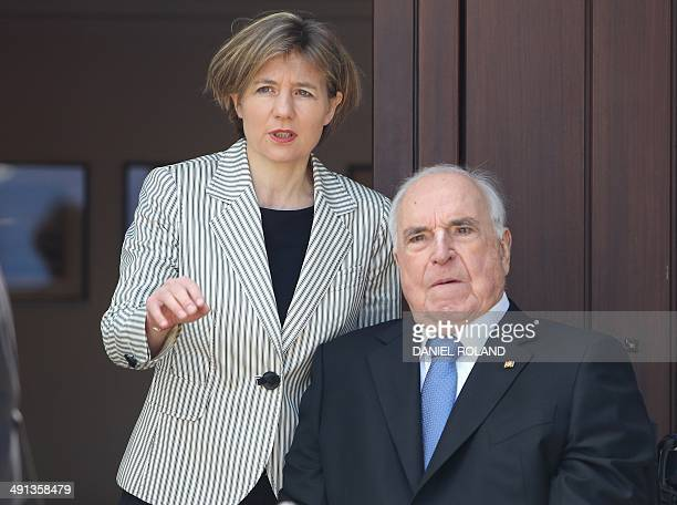 Former German chancellor Helmut Kohl and his wife Maike KohlRichter are seen at their home in Oggersheim near Ludwigshafen Germany May 16 2014 Former...