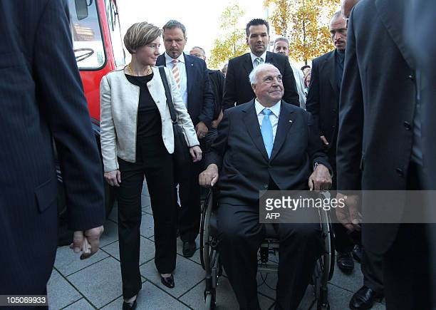 Former German Chancellor Helmut Kohl and his wife Maike RichterKohl arrive at the book fair in Frankfurt central Germany on October 8 2010 where he...