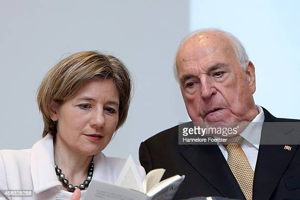 Former German Chancellor Helmut Kohl and his wife Maike RichterKohl attend the presentation of his new book Aus Sorge Um Europa at Villa Kennedy on...