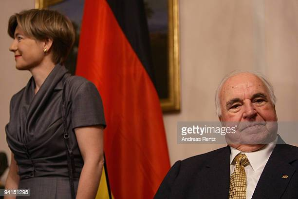 Former German Chancellor Helmut Kohl and his wife Maike RichterKohl attend a private dinner at Bellevue Pallace on December 8 2009 in Berlin Germany...