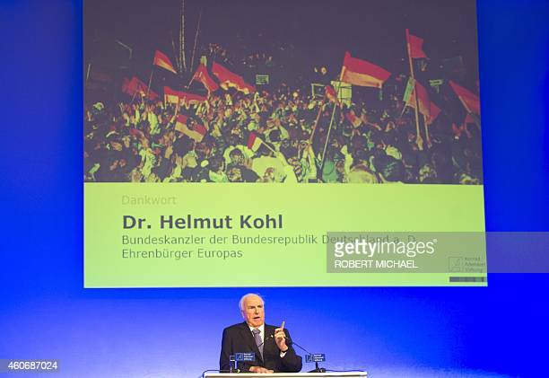 Former German Chancellor Helmut Kohl gives a speech during the 'Happily united from German Unity to European Unification' event on December 19 2014...