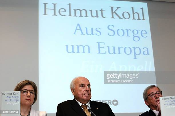 Former German Chancellor Helmut Kohl, his wife Maike Richter-Kohl and eulogist Jean-Claude Juncker , president European Commission, attend the...